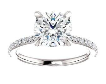 Forever One Moissanite Engagement Ring- Ashley | round | minimalist moissanite solitaire engagement ring