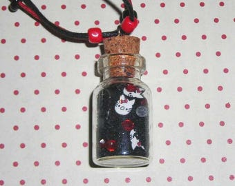 Red and black cat necklace kawaii