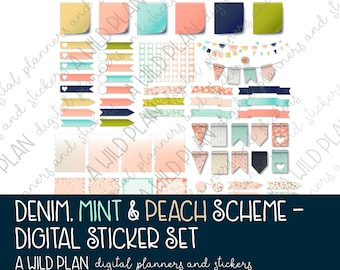 Digital Stickers for planners Denim & Mint Floral theme - Digital Planning |GoodNotes | iPad - Digital Download ONLY
