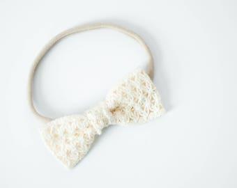 Cream Crocheted Bow