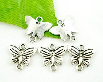 4 antique silver Butterfly connectors