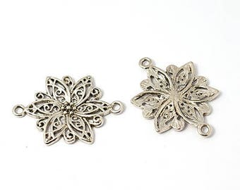 original 1 antique silver flower connector