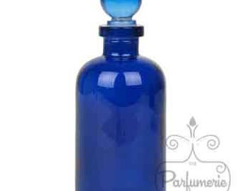 3.4 oz Cobalt Blue GLASS APOTHECARY Old World Style Bottle with Glass Ball Top Closure For Essential Oils, Perfume, Potions, Alchemy, Amulet