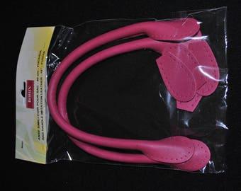 bag handle x 2 40cm 98491 pins pink leatherette
