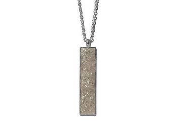 Drop pendant, drop necklace, bar pendant, crystal pendant, boho, under 20 dollars, geode pendant, geode necklace, rectangle pendant,