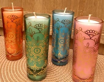 Boho Mandala Henna Gold Design Glass Candles, Multiple Colors, Scented, Gift, Decorative
