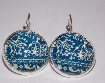 Patterned glass cabochon earrings