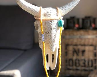 Sautoir perles avec pendentif demi lune turquoise et bouddha