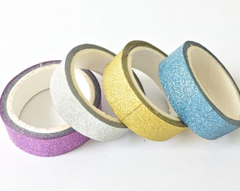Sparkling Roll Glitter Washi Tape // Decoration Bling Multicolor Sparkle Gold Silver Purple Blue Adhesive DIY Masking Bullet Journal Craft