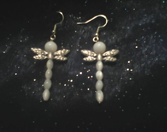 White pearlescent glass dragonfly earrings
