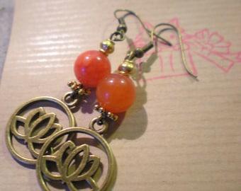 """LOOP Earring """"orange cat's eye and lotus"""" on support metal bronze"""