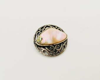 Vintage Scarf Clip, Mother Of Pearl.