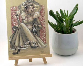 Card A6 postcard Queen of heart Marylou Deserson Illustration _ original _