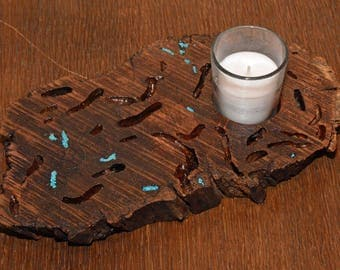 Wooden Votive Candle Holder with Turquoise Inlay