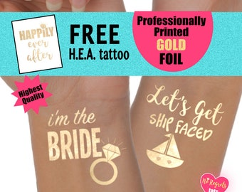 Bachelorette party tattoos, nautical bachelorette party favors, let's get ship faced tattoos, last fling before the ring