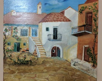 Handmade oil painting of Santorini