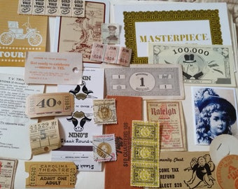Vintage Earthtones Ephemera  Mini Pack / 23+ Pieces / Vintage & New / Collage pack/Paper ephemera lot/ junk journal pack / Tickets