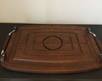 retro solid wood serving tray // wooden serving tray // mid century modern tray // thanksgiving tray // dining room decor // fall decor
