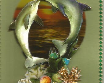 Animals, 3d card, handmade, category dolphins - birthday, anniversary, thank you, get well, retirement, animals, dolphins