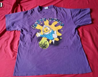 Authentic Vintage 1992 Smashing Pumpkins Starla Concert T-shirt, cotton, short sleeves, screen printed graphic design, ribbed neck, purple,