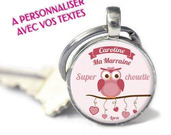 """Porte-clés personnalisé - Modèle """"Super chouette - femme""""  (porte-clefs à personnaliser avec votre texte)"""