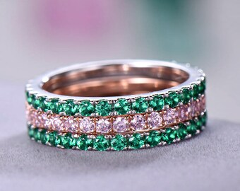3pcs Full eternity wedding band Wedding ring sets sterling silver with white/rose gold plated 2mm Pink / Green CZ Cubic Zircon 925 silver
