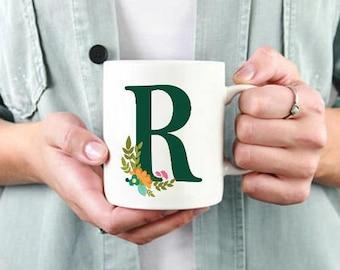 Green Monogram Mug,Personalized Mug,Bridesmaid Gift,Green letter cup,Personalized Gift,Custom Mug,Friend Gift,Teacher Gift,Bridal Party mug,