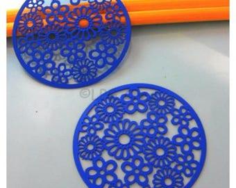 2 filigree - blue - Diam: 47 mm - floral background prints # 15