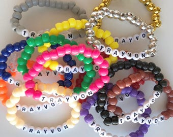 Trayvon Bracelet, Bead Bracelet, Handmade, Trayvon Martin, Activist Support