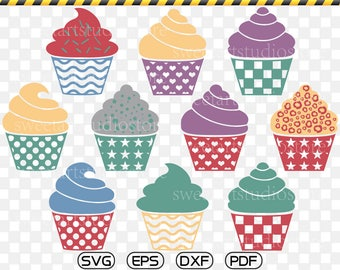 Cupcake SVG, Cupcake Clipart, cricut, silhouette cut files commercial use