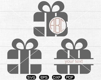 Gift Box Svg, Gift Box Clipart, Monogram Frame cricut, cameo, silhouette cut files commercial & personal use