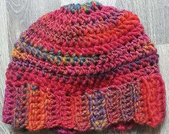 Multicolor hat, crochet hat, women hat, crochet beanie