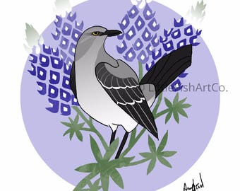 Texas Mockingbird and Blue Bonnet Print