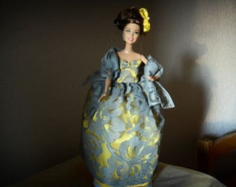 Handmade clothing doll yellow and gray evening in precious fabrics mannequinRobe DECLAWED