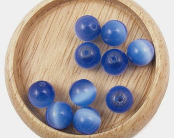 5 Navy Blue cat eye beads - 6mm