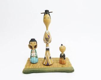 Vintage Kokeshi Dolls.Mother and Children.Japanese Folk Art.Wooden Craft.#mk24