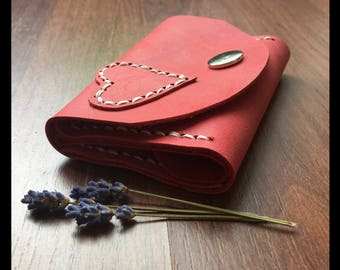 Leather purse/wallet Antique-Strawberry