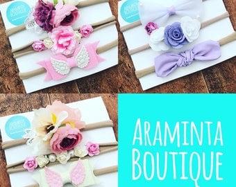 Baby headbands, baby headband set of 3, baby flower headband, baby angel headband, baby bow headband, hair bow, pink headband,white headband
