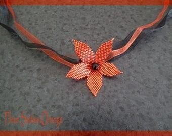 MOD orange red flower necklace