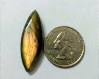 35.37 x 12.18 mm, Marquise Shape Labradorite Cabochon/Golden flaseh/Attractiv Labradorite/wire wrap stone/pendent size Labradorite/ Cabochon