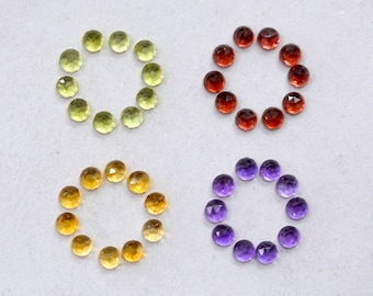 Garnet/ Peridot/ Citrine/ Amethyst Natural Round Faceted cabs Approx (5.55 cts Size 3x3 mm) Price per 40 Pieces - 4006