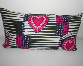 Valentine's day. Wax heart pattern for 30 cm x 50 cm Cushion cover