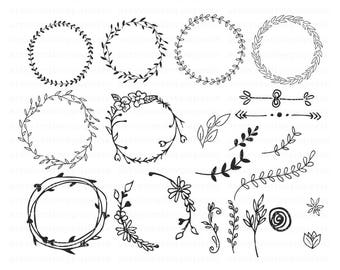 INSTANT DOWNLOAD - Leaf Circle Monogram Svg, Svg Files for Cricut Christmas, Leaves Wreath, Leaf Wreath Svg,Svg Bundles, Svg Designs