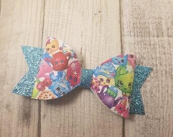 Shopkins hair bow - girl hair bow, toddler hair bow, baby hair bow, handmade hair bow, party hair bow, shopkins inspired hair bow
