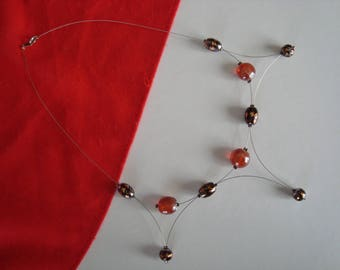 Original necklace in shades of orange and Brown