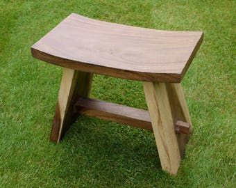 Strong Solid Sturdy Chunky Suar Wood Stool Garden Bench Chair Table  Furniture Conservatory Kitchen Hallway Bathroom