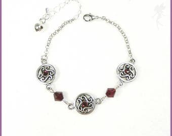 "Simple ""Ruby"" red crystal and silver bracelet"