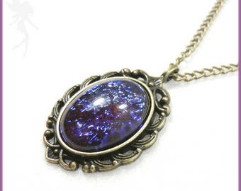 """""""Dragon's breath"""" necklace, brass and fire opal"""