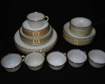 FIRE KING Gold Swirl, Fire King Golden Anniversary, Full Service for 6, 1950s Vintage Milkglass Set, 22K Gold Trim, Wedding Table Dishes