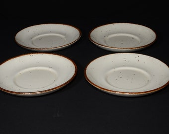 J & G Meakin, England, Lifestyle, Set of 4, saucers, off-white speckled in brown, vintage, pottery, c.1970s, farmhouse decor,cottage, saucer